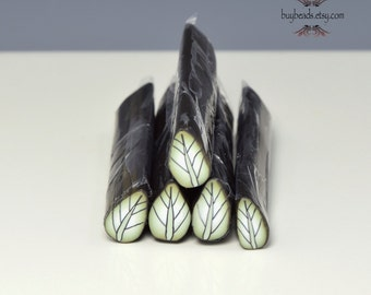 Polymer Clay Leaf Cane, Olive Green, White, Black