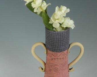 VASE, Clay Vase, Pink Vase, FLOWER VASE, Stamped Vase, Pottery Vase, Ceramic Vase, Porcelain Vase, Bud Vase