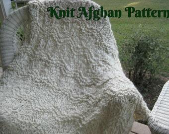 Knit Afghan Pattern, Bulky Afghan Pattern, Handspun Yarn, Knit Blanket, Chunky Knit Blanket, Chunky Afghan, Soft Blanket, Soft Afghan