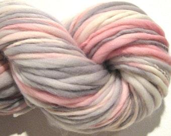 Handspun Yarn Henrietta Hippo 156 yards hand dyed merino wool pink yarn grey yarn gray waldorf doll hair knitting supplies crochet supplies
