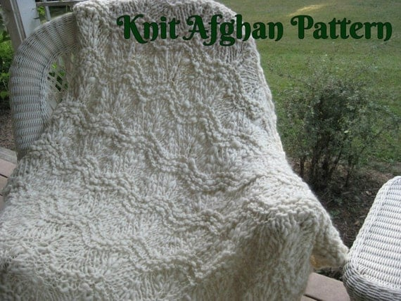 Knit Afghan Patterns Using Bulky Yarn : Knit Afghan Pattern Bulky Afghan Pattern Handspun Yarn Knit