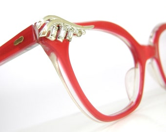 Vintage Red 50s Cat eye Glasses or Sunglasses Frame NOS