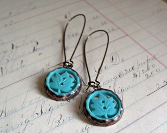 Retro Leaf Button Earrings Repurposed Jewelry Turquoise
