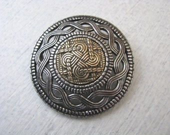 Miracle Pewter Brooch Pin with Gold Plated Celtic Knot Work Center