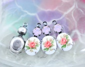 Swarovski Crystal 18x8mm Set Stones Earring Drops Vintage Oval Rose Flower Stones 1 Ring Silver Filled Settings Rose Water Opal - 2
