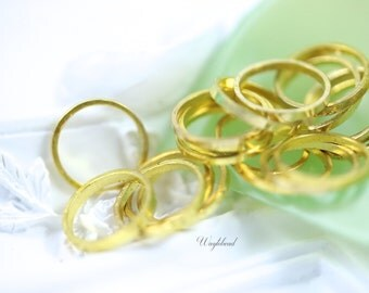 Circle Gold plated Brass Ring 8mm Link or Connector - 20 .