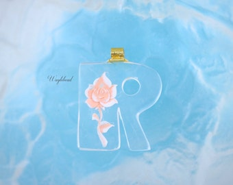 """Peach Vintage Lucite Letter """"R"""" Pendant with a Reverse Carved Rose"""