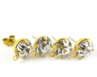 2 pcs - Gold Plated Preciosa Crystal Earring Posts with Loop Rhinestone Ear Studs Earring Finding Round 8mm - Crystal