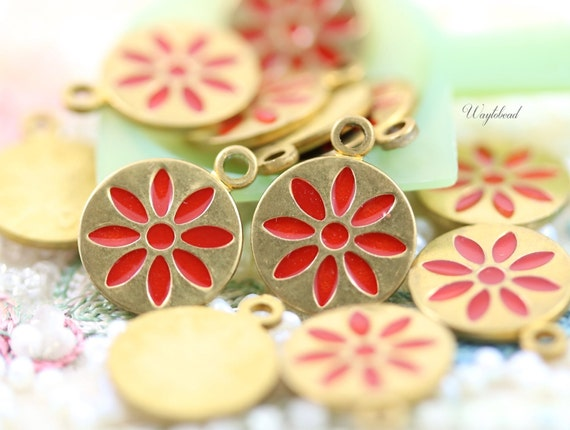 Vintage Style Daisy Disc Charms Pendants Red - 4