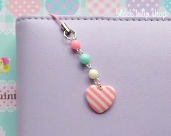Happy Pastel Planner Charm Cell Phone Charm for Planners Bags Backpacks Kawaii Heart Charm Pastel Pink Mint Cute Planner Accessories