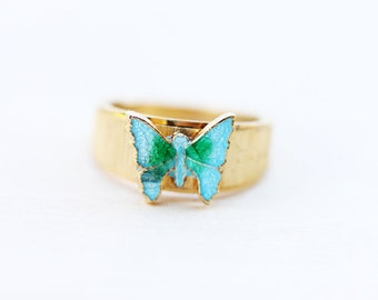 Gold and Green Vintage Butterfly Ring - Size 4