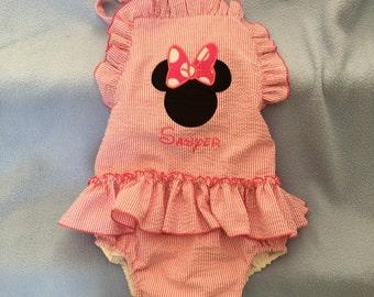 Applique Seersucker swimsuit for your Little Girl  1 piece colof navy red green pink light blu aque