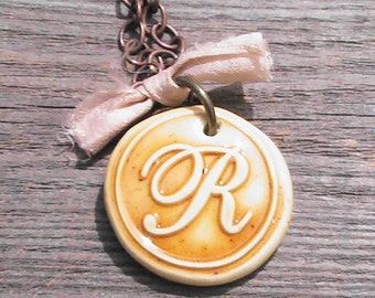 Wax seal monogram polymer clay pendant necklace