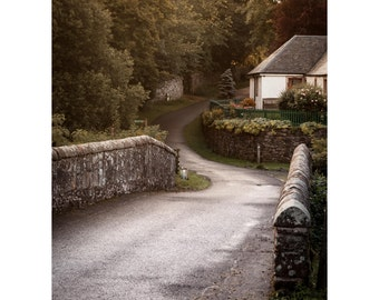 Glen Devon Bridge Fine Art Photography Scottish Cottage Romantic home sunrise light stone bridge Scotland warm dreamy rural simple life
