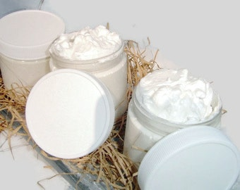 Whipped Shea Body  Butter - Unscented - 4 ounce - Vegan friendly.Body butter with coconut oil added by Nana J's Handmades
