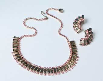 Pink and Olivine Green Rhinestone Necklace Earring Set Demi Parure Vintage