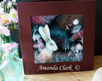 A single greeting card. Titled 'Ruby Fields'.   Illustrations and paintings by Amanda Clark.