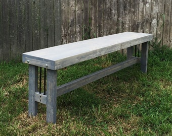 Industrial Bench - Modern Rustic Bench - Industrial Furniture - Home Decor - Weathered Grey Bench - Modern Furniture - Wood Benches