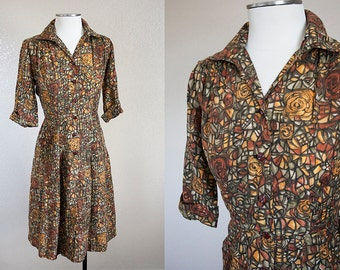 Autumnal Rose Stained Glass Shirtdress 1950s | M L