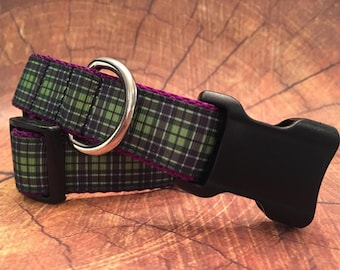 Plaid Dog Collar, In XS, S, M, L, XL, Purple, Blue and Green