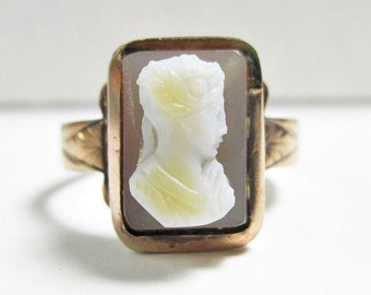 Antique Victorian Cameo Ring - 10K Rose Gold - Hardstone - Sardonyx - Needs a Repair - 1870s