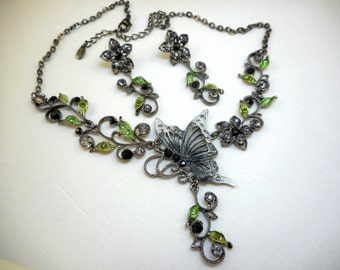 Butterfly Necklace Earrings Set - Signed BW