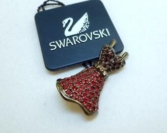 NOS Swarovski Red Dress Pin
