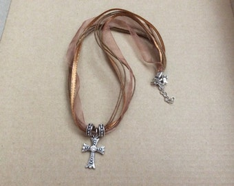 Brown organza ribbon necklace with cross pendant
