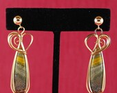 Bumblebee jasper earrings yellow grey striped 14k Gold Filled wire and posts. E36