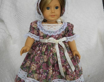 Civil War Era Dress and Bonnet Made for American Girl Dolls Addie, Marie Grace or Cecile