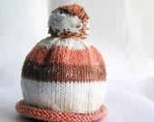 SALE 30% OFF - Baby Hat Hand Knit Orange & Rust Stripes with Roll Brim and Pom Pom, Great for Photo Props