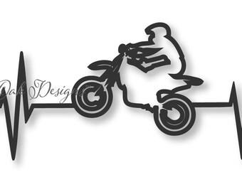 Dirtbike EKG SVG File dxf / pdf / eps / png/ ai / jpg for Cricut & Cameo V2 V3