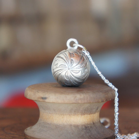 Antique French Solid Silver Ornate Sphere Necklace