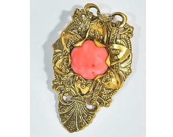 1960s Art Nouveau Embossed Gold Tone and Faux Coral Ornate Vintage Dress Clip