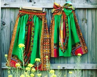 African print skirt - knee length skirt - mommy and me skirt - bohemian tribal print clothing
