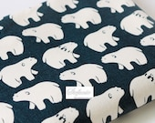 SALE Clearance 1 Yard Lovely Off White Zoology Winter Polar Bear On Dark Blue - Linen Cotton Blended Fabric (1 Yard)