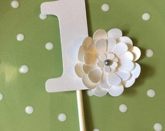 Cupcake Topper One Topper - White