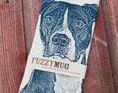 Pit Bull Tea Towel, Pit Bull Towel - Hand Printed Flour Sack Tea Towel, Dish Towel, Kitchen Towel