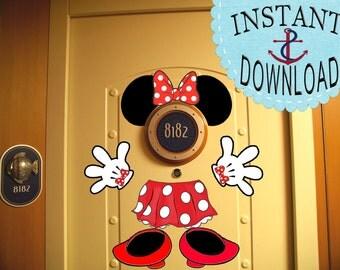 SALE! Minnie Mouse Disney Cruise Door Magnet Decorations -Instant Download!