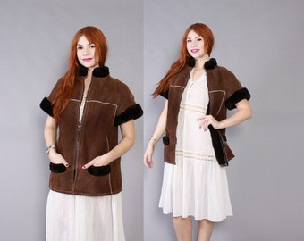 Vintage 80s DIOR SHEEPSKIN COAT / Rare Chocolate Brown Suede & Shearling Lamb Short Sleeve Jacket