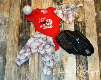 Infant Boy's or Girl's Baseball Pants, Bodysuit and Knot Hat Set - Can be Personalized - Coming Home Outfit