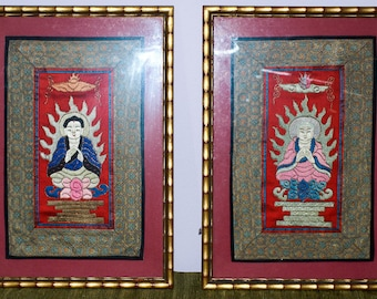 Two Chinese Vintage Buddha or Boddhisatva Embroideries