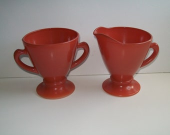 Hazel Atlas Orange Platonite Glass Sugar and Creamer