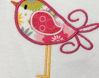 Onesie, baby bodysuit, bird, pink, appliqué, custom embroidered