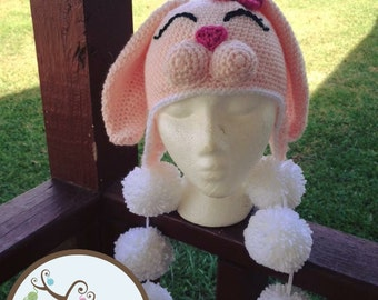 Crochet Bunny Hat  Rabbit Hat