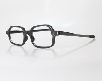 Vintage 1960s Boxy Eyeglasses Black Womens Ladies Mod Mid Century Mad Men Glasses Optical Frames Midnight Obsidian 60s Sixties Classic