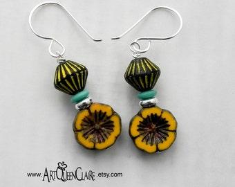 Czech Glass Hawaiian Flower Earrings with Sterling Silver Earwires