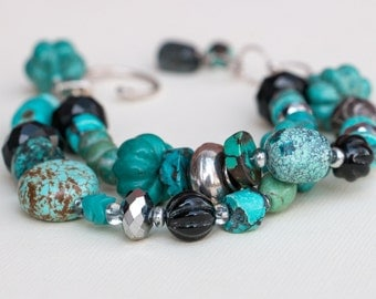 Turquoise and Sterling Silver Double Strand Bracelet Handmade Jewelry Etsy