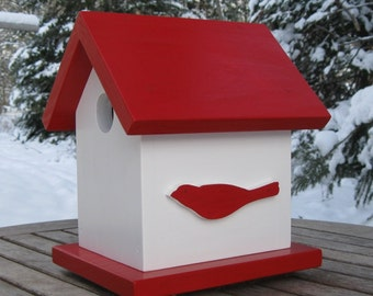 Bird Silhouettes, Red and White Birdhouse