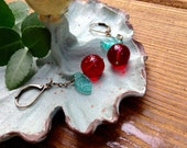 Brilliant Red Cherry Czech Glass And Brass Earrings